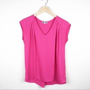 Pleione Hot Pink Short Sleeve Blouse XS EUC